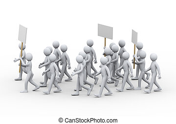 3d people strike protest - 3d illustration of people with...