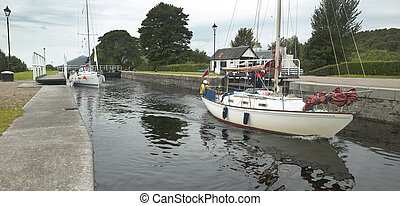 Caledonian canal with sailboats in Scotland. Horizontal