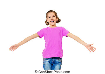 laughing child - Cheerful teen girl wearing casual clothes...