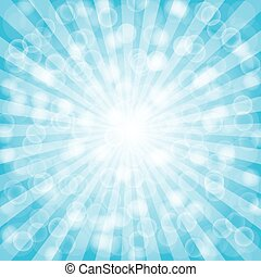 Blue  summer sun light burst.vector