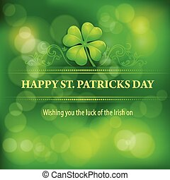 Patrick?s day background - Clover leaf background in green,...