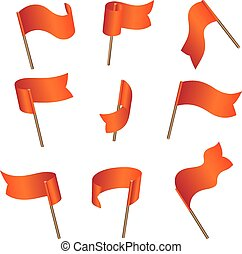 flags - Set of nine red empty flags on wind