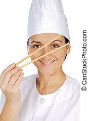 happy attractive cook woman