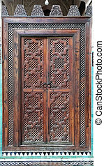 Wooden door Background - Interior door the Madrassa Bou...