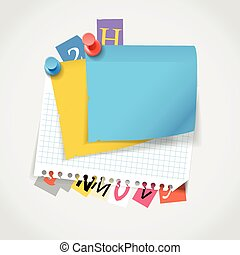 Blank paper stickers and color paper letters Template for a...