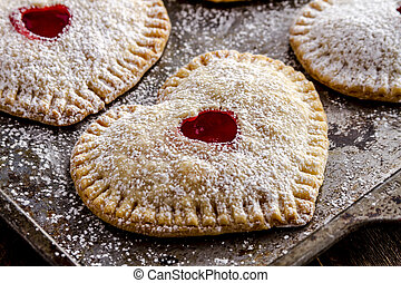 Heart Shaped Cherry Hand Pies - Close up of heart shaped...