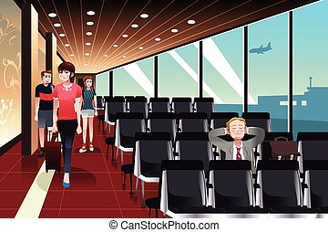 Traveling businessman waiting in the airport - A vector...