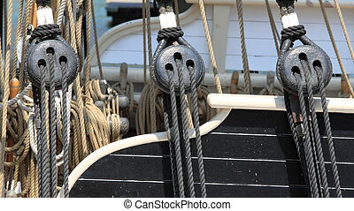 rigging - close up of block and rigging on a sail boat