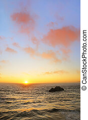 Sunset at Ocean Beach in San Francisco - Sunset above the...