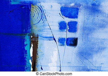 abstract blue painting, artwork is created and painted by...