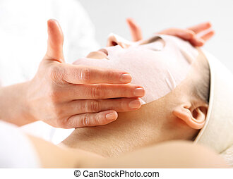Natural spa, a woman in the mask - Cosmetic procedure...