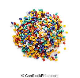 Plastic pellets - Top view of plastic pellets stack isolated...