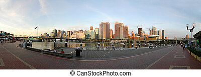 Darling Harbour sunset panorama photo, brand names removed