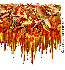 Greasy Fast Food - Greasy fast food concept with liquid...