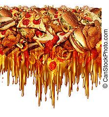 alimento, rapidamente, gorduroso