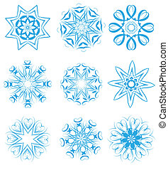 snowflakes set - illustration of snowflakes and stars set...
