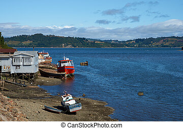 Island of Chilo - Fishing boats on the coast in Castro,...