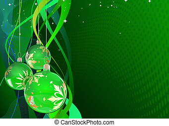 Christmas greating card - illustration of green Holiday card...