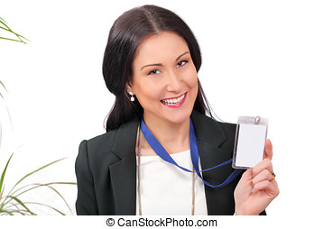 Here's my ID - Happy business delegate showing her ID card