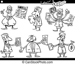 businessmen cartoon set - Black and White Cartoon...