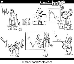 business cartoon crisis concepts set - Black and White...