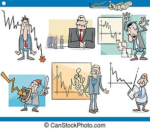 business cartoon crisis concepts set - Cartoon Illustration...