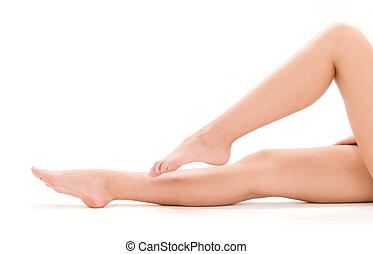 saudável, bonito, mulher, pernas