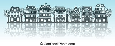 Silhouettes of houses