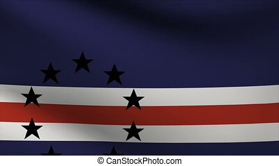 cape verde flag waving gently in wind