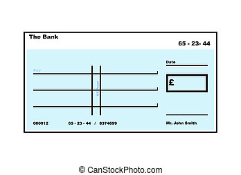 Blank English Cheque illustration with copy space, isolated...