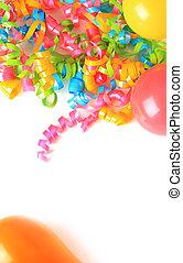 aniversário, balões, e, fitas,