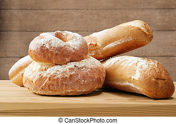Loaves of Bread on Wood