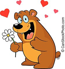 Cartoon Bear With Flower