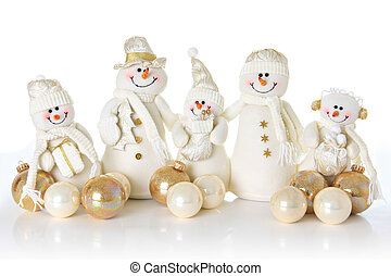 Snow man family - Christmas Snow man family on white
