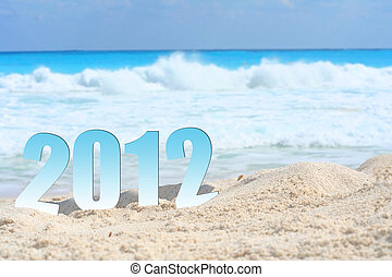 new year 2012  - Happy new year eve in the sand.