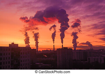 smoke from pipes over Moscow - smoke from pipes over...