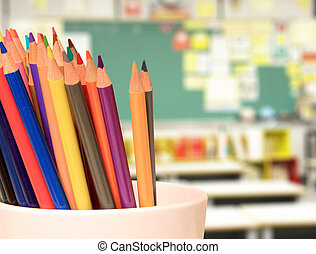 Pencil crayons - Colorful pencil crayon on the teacher's...