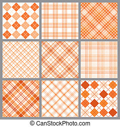 Nine Orange Plaids - An illustration of a set of nine blue...