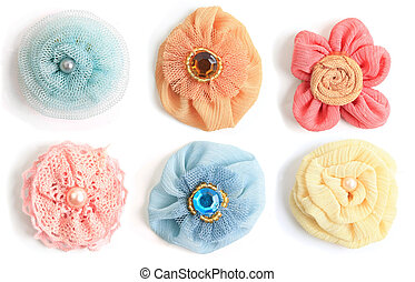 Fabric flowers - Six handmade flowers made from a variety of...