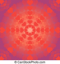 Abstract pattern of hearts arranged in a circle on purple background