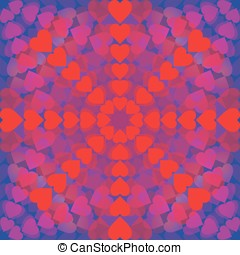 Abstract pattern of hearts arranged in a circle on blue background
