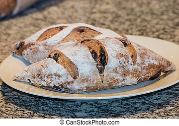 artisan bread with olives - close up of artisan bread with...