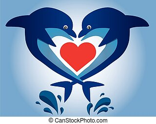sea life - a pair of dolphins and a red heart on a blue...