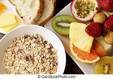 Muesli with Mixed Sliced Fruits Breakfast Meal