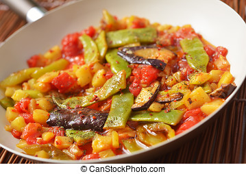 Vegetable saute - Turkish vegetable saute in a pan