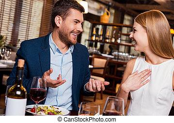 el gozar, comida, Juntos., hermoso, joven, amoroso, pareja,...