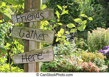 Garden sign.  - Summer garden welcome sign on a post.