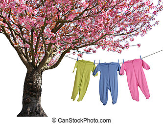 Spring laundry - Baby clothing, hanging on the laundry line...