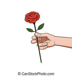 giving a rose - This is the illustration of a hand giving a...