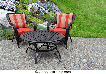 Patio furniture in the garden